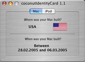 Geburtsurkunde für den Mac -coconutIdentityCard