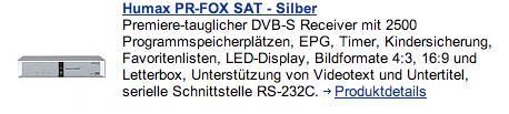 Angebot Sat-Receiver mit serieller Schnittstelle, Quelle: Promarkt.de