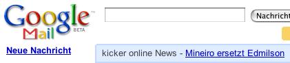 Google Mail: Werbelink für Kicker