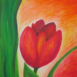 Acryl-Bild einer Tulpe