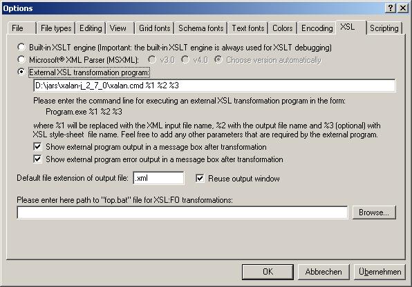 XSL-T Xalan in XMLSpy konfigurieren